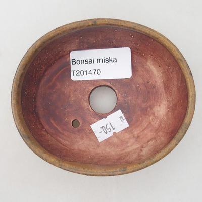 Keramische Bonsai-Schale 10 x 8,5 x 3,5 cm, braune Farbe - 3