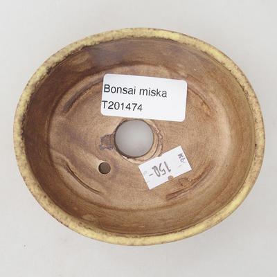 Keramische Bonsai-Schale 10 x 8,5 x 3,5 cm, Farbe braun-gelb - 3