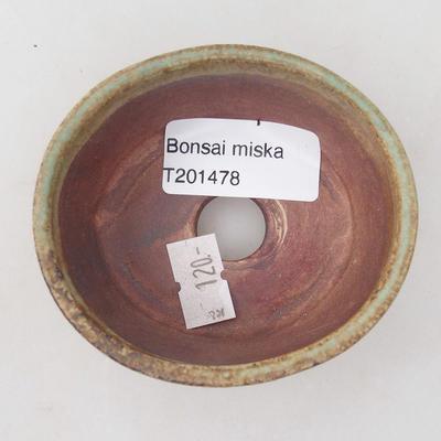 Keramische Bonsai-Schale 8 x 7 x 4 cm, Farbe braun-grün - 3