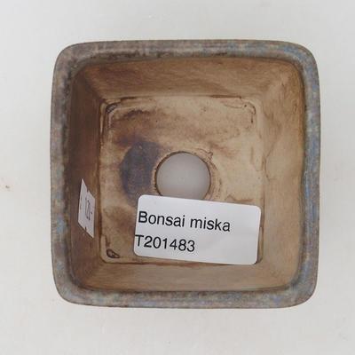 Keramische Bonsai-Schale 6,5 x 6,5 x 5 cm, braun-blaue Farbe - 3