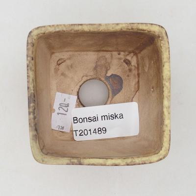 Keramische Bonsai-Schale 6,5 x 6,5 x 5 cm, Farbe braun-gelb - 3