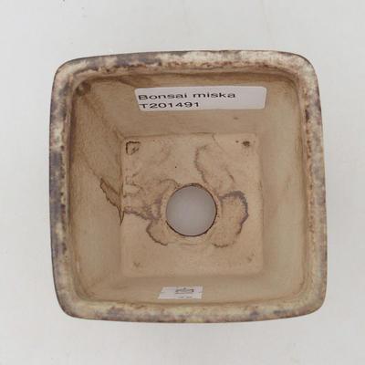 Keramische Bonsai-Schale 7 x 7 x 7 cm, Farbe braun-grün - 3