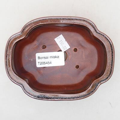 Keramische Bonsai-Schale 12,5 x 9,5 x 5 cm, braun-schwarze Farbe - 3
