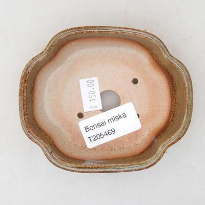 Keramische Bonsai-Schale 10 x 8,5 x 3 cm, braune Farbe - 3