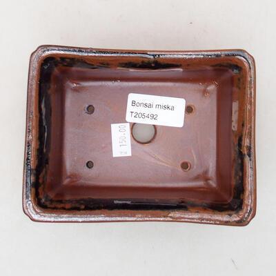 Keramische Bonsai-Schale 13 x 10 x 5 cm, Farbe schwarzbraun - 3