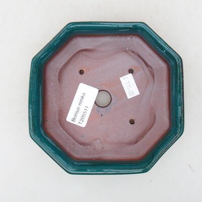 Keramische Bonsai-Schale 13 x 13 x 4 cm, Farbe grün - 3
