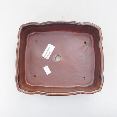Keramische Bonsai-Schale 20 x 16,5 x 6,5 cm, braun-schwarze Farbe - 3