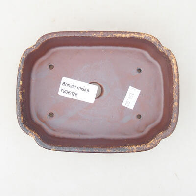 Keramische Bonsai-Schale 15 x 11 x 4 cm, Farbe braun-gelb - 3