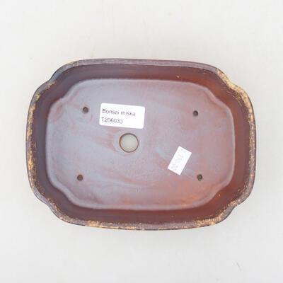 Keramische Bonsai-Schale 17,5 x 13,5 x 5 cm, Farbe braun-gelb - 3