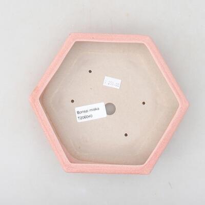 Keramik Bonsai Schüssel 18 x 16 x 3,5 cm, Farbe rosa - 3