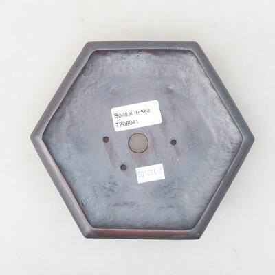Keramische Bonsai-Schale 15,5 x 14 x 3,5 cm, Metallfarbe - 3