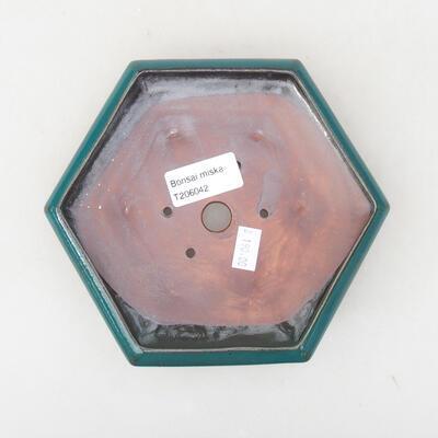 Keramische Bonsai-Schale 15,5 x 14 x 3,5 cm, Farbe grün - 3
