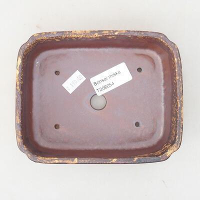Keramische Bonsai-Schale 15 x 11,5 x 4 cm, Farbe braun-gelb - 3