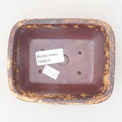 Keramische Bonsai-Schale 13 x 10 x 5 cm, Farbe braun-gelb - 3