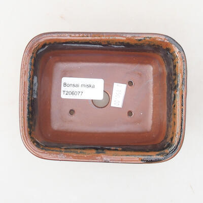 Keramische Bonsai-Schale 13 x 10 x 5 cm, Farbe braun-schwarz - 3