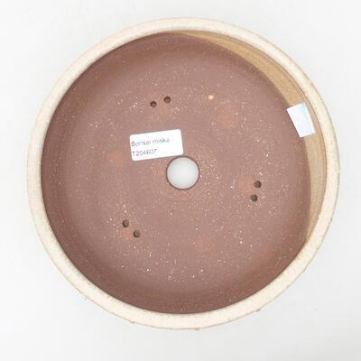 Keramische Bonsai-Schale 19,5 x 19,5 x 5,5 cm, beige Farbe - 3