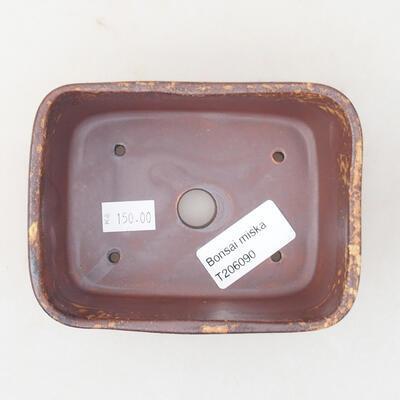Keramische Bonsai-Schale 13 x 10 x 5,5 cm, Farbe braun-gelb - 3