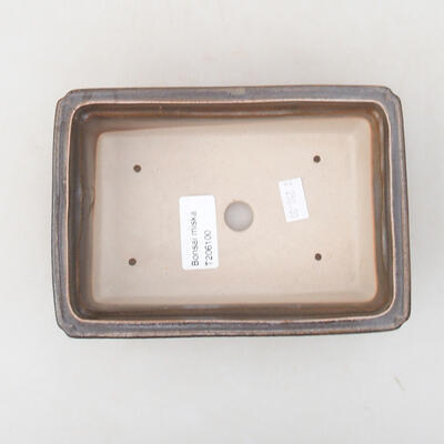 Keramische Bonsai-Schale 16,5 x 11 x 5 cm, Farbe braun-grün - 3