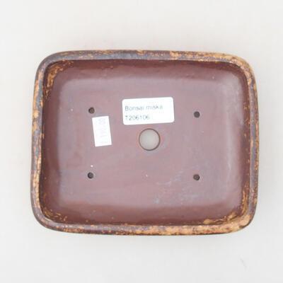 Keramische Bonsai-Schale 16 x 12,5 x 3 cm, Farbe braun-gelb - 3