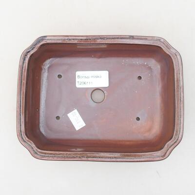 Keramische Bonsai-Schale 17 x 13 x 4,5 cm, braune Farbe - 3