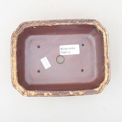 Keramische Bonsai-Schale 17 x 13 x 4,5 cm, Farbe braun-gelb - 3