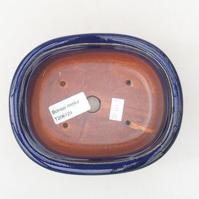 Keramische Bonsai-Schale 14 x 11 x 5 cm, Farbe blau - 3