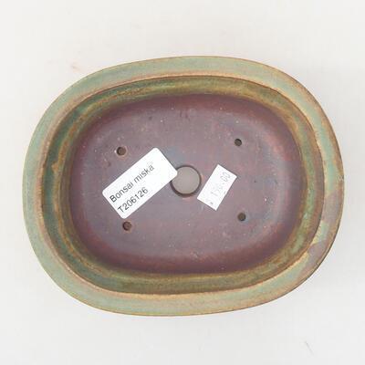Keramische Bonsai-Schale 14 x 11 x 5 cm, Farbe braun-grün - 3