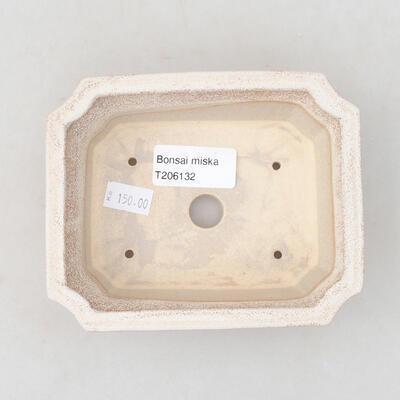 Keramische Bonsai-Schale 12,5 x 10 x 4 cm, beige Farbe - 3