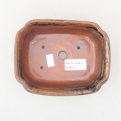 Keramische Bonsai-Schale 15 x 12 x 4 cm, braun-schwarze Farbe - 3