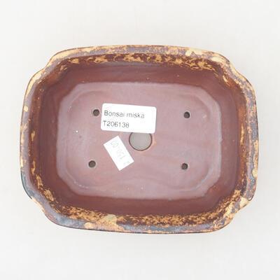 Keramische Bonsai-Schale 15 x 12 x 4 cm, Farbe braun-gelb - 3