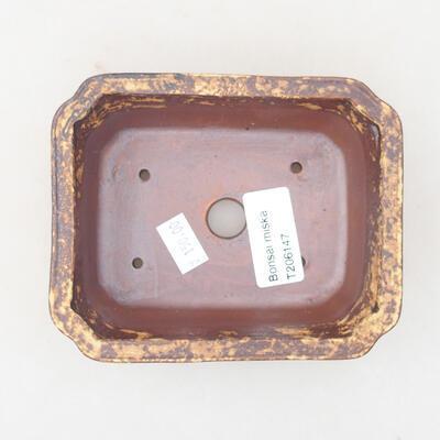 Keramische Bonsai-Schale 12 x 9,5 x 4 cm, Farbe braun-gelb - 3