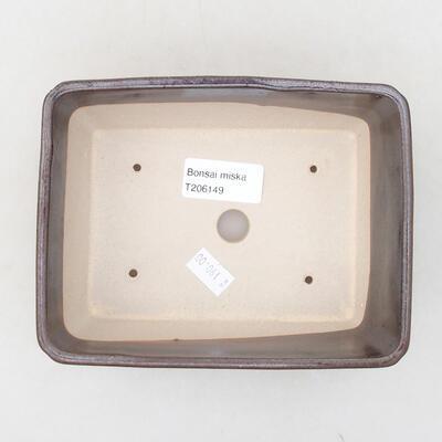 Keramische Bonsai-Schale 15 x 11,5 x 5,5 cm, braune Farbe - 3