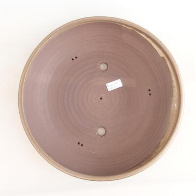 Keramische Bonsai-Schale 37,5 x 37,5 x 9 cm, braune Farbe - 3