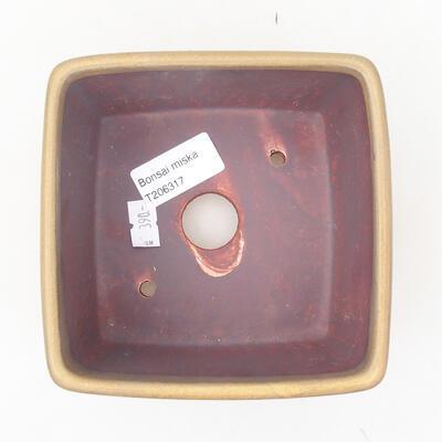 Keramische Bonsai-Schale 12 x 12 x 8 cm, Farbe braun - 3