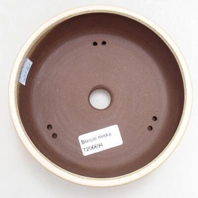 Bonsaischale aus Keramik 15 x 15 x 4,5 cm, Farbe beige - 3