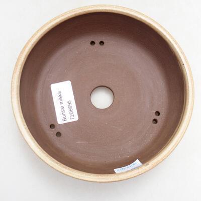 Bonsaischale aus Keramik 14,5 x 14,5 x 4,5 cm, Farbe beige - 3