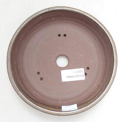Bonsaischale aus Keramik 16,5 x 16,5 x 3,5 cm, Farbe braun - 3