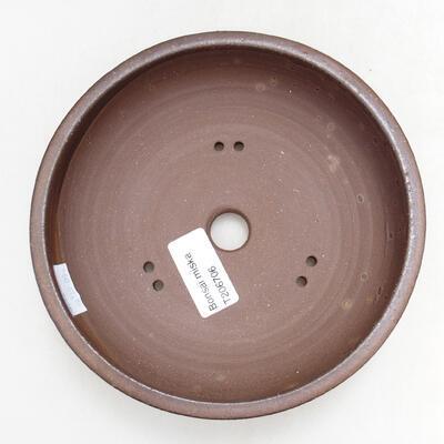 Bonsaischale aus Keramik 15,5 x 15,5 x 4,5 cm, Farbe braun - 3