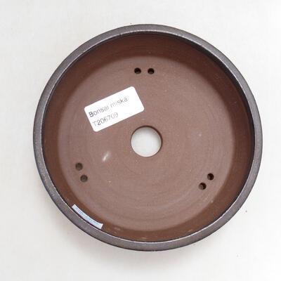 Bonsaischale aus Keramik 14 x 14 x 4 cm, Farbe braun - 3