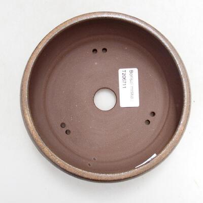 Bonsaischale aus Keramik 14 x 14 x 5,5 cm, braune Farbe - 3