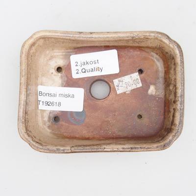 Bonsaischale aus Keramik 2. Wahl - 12 x 9 x 3 cm, Farbe beige - 3
