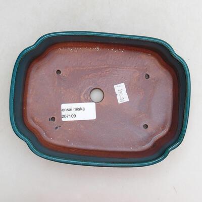 Bonsaischale aus Keramik 17,5 x 13,5 x 4,5 cm, Farbe grün - 3