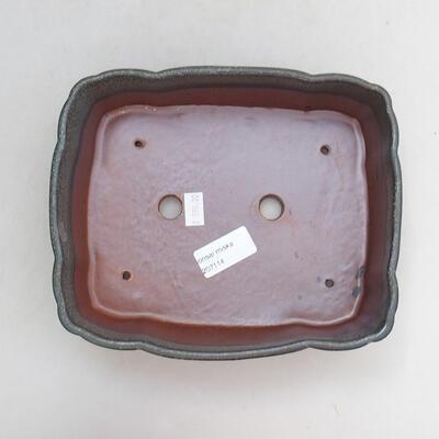 Bonsaischale aus Keramik 20,5 x 17 x 7 cm, Farbe grau - 3