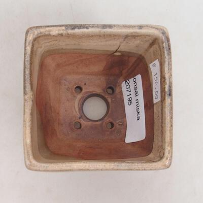 Bonsaischale aus Keramik 7,5 x 7,5 x 6 cm, Farbe beige - 3
