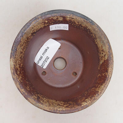 Bonsaischale aus Keramik 11 x 11 x 7 cm, Farbe braun-grün - 3