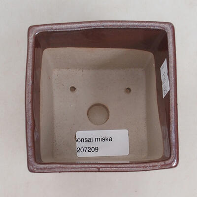 Bonsaischale aus Keramik 9 x 9 x 8,5 cm, Farbe braun - 3