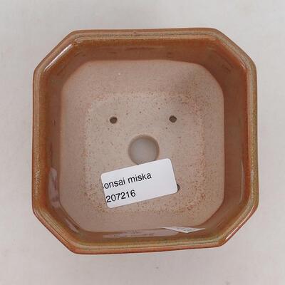 Bonsaischale aus Keramik 10 x 10 x 6 cm, Farbe braun-rostig - 3