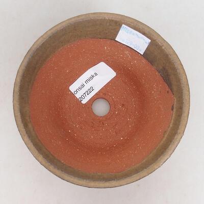 Bonsaischale aus Keramik 12 x 12 x 6,5 cm, Farbe braun - 3
