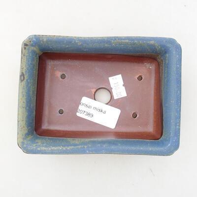 Bonsaischale aus Keramik 13,5 x 9,5 x 4 cm, Farbe blau - 3