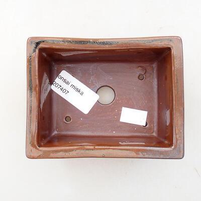 Bonsaischale aus Keramik 11 x 8,5 x 4,5 cm, braune Farbe - 3